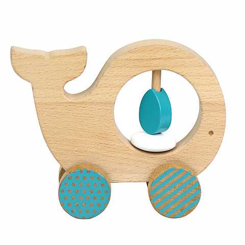 WOODEN PUSH ALONG LITTLE WHALE