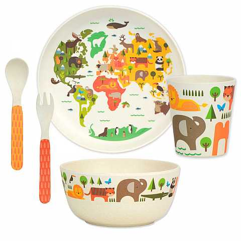 Bamboo dinnerware set: our world
